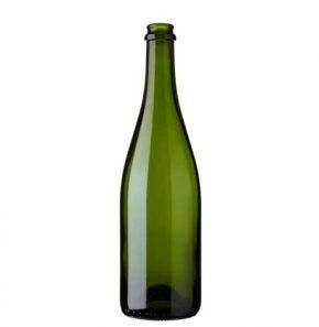 Bottiglia di Champagne tappo corona 75 cl verde leggera