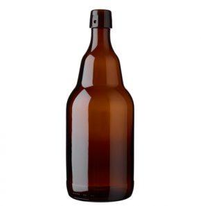 Bouteille à bière fermeture mécanique 200cl Steinie avec fermeture montée brun