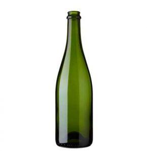 Champagnerflasche Kronkork 75 cl grün schwer ECO