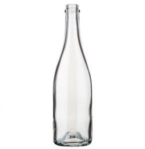 Champagnerflasche Kronkork 75 cl weiss leicht