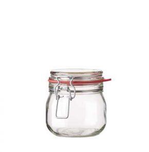 Pot à confiture rond ferm. mécan. 634 ml blanc avec fil en argent et joint rouge