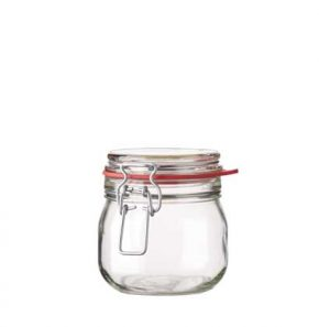 Pot à conserve rond ferm. mécan. 634 ml blanc avec fil en argent et joint rouge