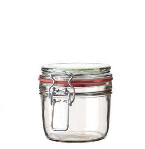 Pot à miel ferm. mécan. 400 ml blanc avec fil en argent et joint rouge