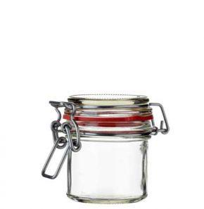 Pot à miel rond ferm. mécan. 125 ml blanc avec fil en argent et joint rouge