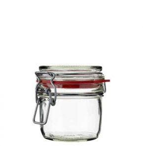 Pot à miel rond ferm. mécan. 255 ml blanc avec fil en argent et joint rouge