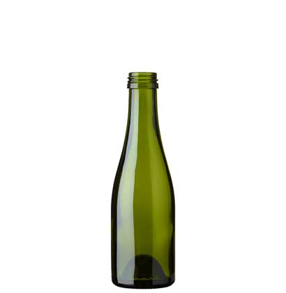 Champagne bottle quart screw 18.75 cl green