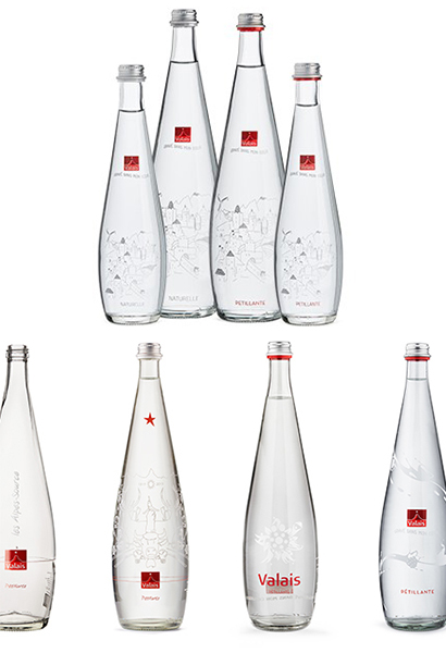 Glass water bottle Eau du Valais ©aproz.ch