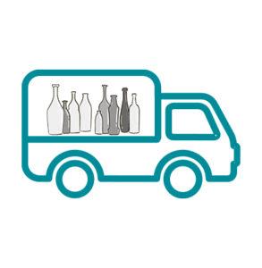 Consegna delle bottiglie da un pallet