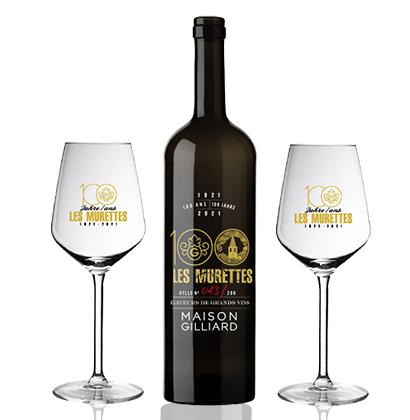 Bottiglia di vino personalizzata per il 100° anniversario Maison Gilliard